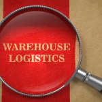 Warehouse Logistics. Magnifying Glass on Old Paper with Red Vertical Line.